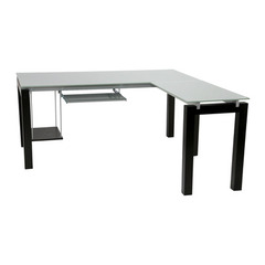 Buy Eurostyle Ballard 66x66 L Desk in Wenge & Silver Printed Glass on sale online