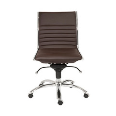 Buy Eurostyle Dirk Low Back Armless Office Chair in Brown & Chrome on sale online