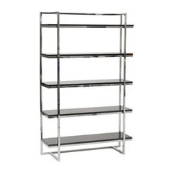 Buy Eurostyle Gilbert 5 Shelf Unit in Black Lacquer & Chrome on sale online