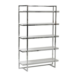 Buy Eurostyle Gilbert 5 Shelf Unit in White Lacquer & Chrome on sale online