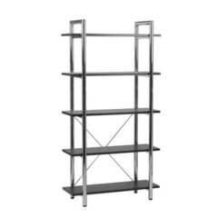 Buy Eurostyle Laurence Leather Bookcase in Black Leather & Chrome on sale online