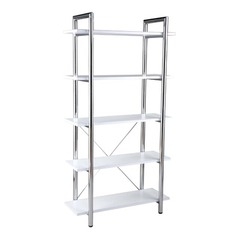 Buy Eurostyle Laurence Leather Bookcase in White Leather & Chrome on sale online