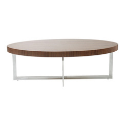 Buy Eurostyle Oliver Oval 24x47 Coffee Table in Walnut & Chrome on sale online