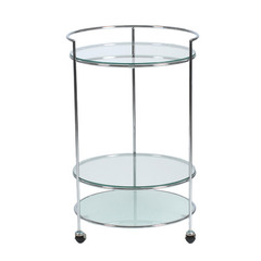Buy Eurostyle Roberta Round 19x19 Side Table in Frosted/Clear Glass & Chrome on sale online