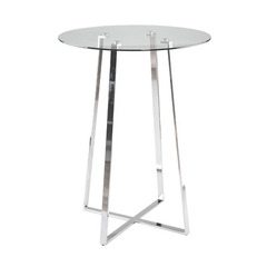 Buy Eurostyle Ursula Round 32x32 Bar Table in Clear Glass & Chrome on sale online