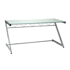 Buy Eurostyle Z Deluxe 61x30 Large Desk in Aluminum & Frosted Glass on sale online
