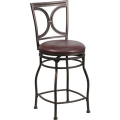Buy Flash Furniture 24 Inch Brown Metal Counter Height Stool w/ Brown Leather Swivel Seat on sale online