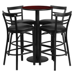 Buy Flash Furniture 5 Piece 24x24 Round Mahogany Laminate Table Set w/ 4 Ladder Back Barstools - Black Vinyl Seat on sale online