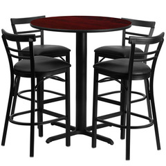 Buy Flash Furniture 5 Piece Round 24x24 Mahogany Laminate Table Set w/ 4 Ladder Back Metal Barstools - Black Vinyl Seat on sale online