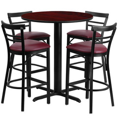 Buy Flash Furniture 5 Piece 24x24 Round Mahogany Laminate Table Set w/ 4 Ladder Back Metal Barstools - Burgundy Vinyl Seat on sale online