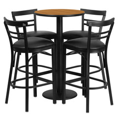 Buy Flash Furniture 5 Piece Round Natural Laminate 24x24 Table Set w/ 4 Ladder Back Metal Barstools - Black Vinyl Seat on sale online
