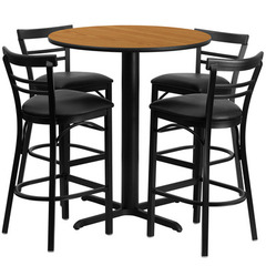 Buy Flash Furniture 5 Piece 24x24 Round Natural Laminate Table Set w/ 4 Ladder Back Metal Barstools - Black Vinyl Seat on sale online
