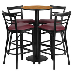 Buy Flash Furniture 5 Piece Round Natural 24x24 Laminate Table Set w/ 4 Ladder Back Metal Barstools - Burgundy Vinyl Seat on sale online