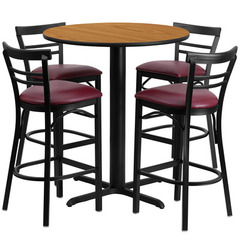Buy Flash Furniture 5 Piece Round 24x24 Natural Laminate Table Set w/ 4 Ladder Back Metal Barstools - Burgundy Vinyl Seat on sale online