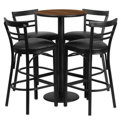 Buy Flash Furniture 5 Piece 24x24 Round Walnut Laminate Table Set w/ 4 Ladder Back Barstools - Black Vinyl Seat on sale online