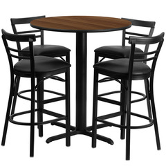 Buy Flash Furniture 5 Piece Round Walnut 24x24 Laminate Table Set w/ 4 Ladder Back Metal Barstools - Black Vinyl Seat on sale online