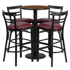 Buy Flash Furniture 5 Piece Round Walnut 24x24 Laminate Table Set w/ 4 Ladder Back Metal Barstools - Burgundy Vinyl Seat on sale online