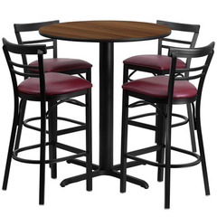 Buy Flash Furniture 5 Piece 24x24 Round Walnut Laminate Table Set w/ 4 Ladder Back Metal Barstools - Burgundy Vinyl Seat on sale online