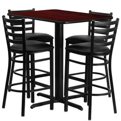 Buy Flash Furniture 5 Piece 24x42 Rectangular Mahogany Laminate Table Set w/ 4 Ladder Back Metal Barstools - Black Vinyl Seat on sale online