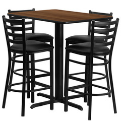 Buy Flash Furniture 5 Piece 24x42 Rectangular Walnut Laminate Table Set w/ 4 Ladder Back Metal Barstools - Black Vinyl Seat on sale online