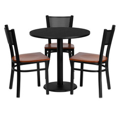 Buy Flash Furniture 30x30 Round Black Laminate Table Set w/ 3 Grid Back Metal Chairs - Cherry Wood Seat on sale online