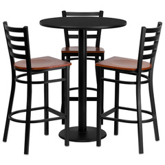 Buy Flash Furniture 30 Inch Round Black Laminate Table Set w/ 3 Ladder Back Metal Bar Stools - Cherry Wood Seat on sale online