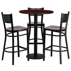 Buy Flash Furniture 30 Inch Round Mahogany Laminate Table Set w/ 3 Grid Back Metal Bar Stools - Mahogany Wood Seat on sale online