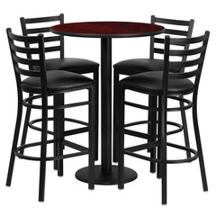 Buy Flash Furniture Round Mahogany Laminate 30x30 Table Set w/ 4 Ladder Back Metal Barstools - Black Vinyl Seat on sale online