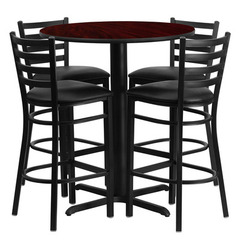Buy Flash Furniture 30x30 Round Mahogany Laminate Table Set w/ 4 Ladder Back Metal Barstools - Black Vinyl Seat on sale online