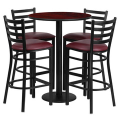 Buy Flash Furniture 30 Inch Round Mahogany Laminate Table Set w/ 4 Ladder Back Metal Barstools - Burgundy Vinyl Seat on sale online