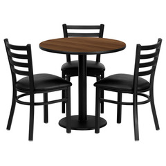 Buy Flash Furniture 30x30 Round Walnut Laminate Table Set w/ 3 Ladder Back Metal Chairs - Black Vinyl Seat on sale online