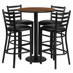 Buy Flash Furniture 5 Piece Round Walnut Laminate 30x30 Table Set w/ 4 Ladder Back Metal Barstools - Black Vinyl Seat on sale online