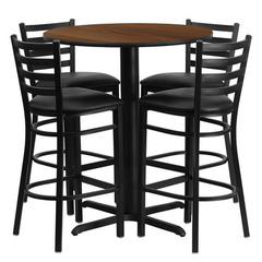 Buy Flash Furniture 5 Piece 30x30 Round Walnut Laminate Table Set w/ 4 Ladder Back Metal Barstools - Black Vinyl Seat on sale online