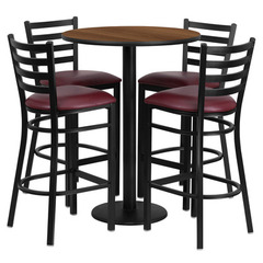 Buy Flash Furniture 30 Inch Round Walnut Laminate Table Set w/ 4 Ladder Back Metal Barstools - Burgundy Vinyl Seat on sale online
