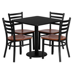Buy Flash Furniture 30x30 Square Black Laminate Table Set w/ 4 Ladder Back Metal Chairs - Cherry Wood Seat on sale online