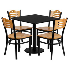 Buy Flash Furniture 30x30 Square Black Laminate Table Set w/ 4 Wood Slat Back Metal Chairs - Natural Wood Seat on sale online