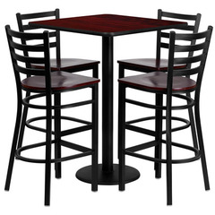 Buy Flash Furniture 30 Inch Square Mahogany Laminate Table Set w/ 4 Ladder Back Metal Bar Stools - Mahogany Wood Seat on sale online