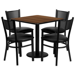 Buy Flash Furniture 30x30 Square Walnut Laminate Table Set w/ 4 Grid Back Metal Chairs - Black Vinyl Seat on sale online