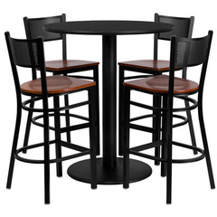 Buy Flash Furniture 36 Inch Round Black Laminate Table Set w/ 4 Grid Back Metal Bar Stools - Cherry Wood Seat on sale online