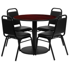 Buy Flash Furniture 36x36 Round Mahogany Laminate Table Set w/ 4 Black Trapezoidal Back Banquet Chairs on sale online