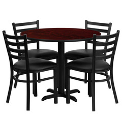 Buy Flash Furniture 36x36 Round Mahogany Laminate Table Set w/ 4 Ladder Back Metal Chairs - Black Vinyl Seat on sale online