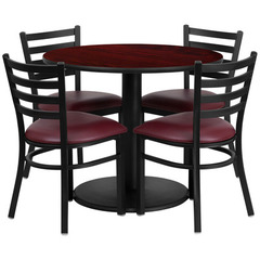 Buy Flash Furniture 36x36 Round Mahogany Laminate Table Set w/ 4 Ladder Back Metal Chairs - Burgundy Vinyl Seat on sale online