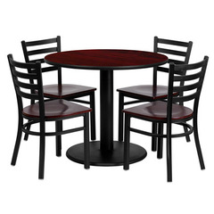 Buy Flash Furniture 36x36 Round Mahogany Laminate Table Set w/ 4 Ladder Back Metal Chairs - Mahogany Wood Seat on sale online