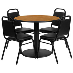 Buy Flash Furniture 36x36 Round Natural Laminate Table Set w/ 4 Black Trapezoidal Back Banquet Chairs on sale online