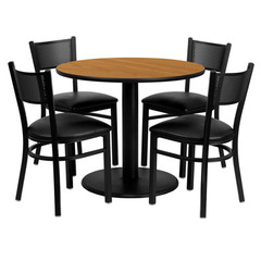 Buy Flash Furniture 36x36 Round Natural Laminate Table Set w/ 4 Grid Back Metal Chairs - Black Vinyl Seat on sale online