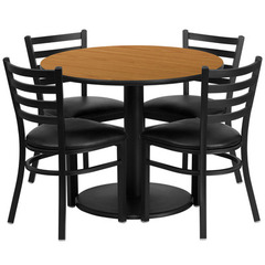 Buy Flash Furniture 36x36 Round Natural Laminate Table Set w/ 4 Ladder Back Metal Chairs - Black Vinyl Seat on sale online