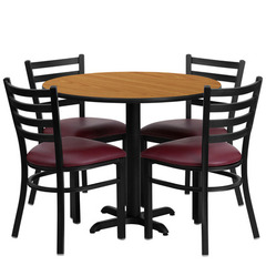 Buy Flash Furniture 36x36 Round Natural Laminate Table Set w/ 4 Ladder Back Metal Chairs - Burgundy Vinyl Seat on sale online