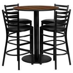 Buy Flash Furniture 36 Inch Round Walnut Laminate Table Set w/ 4 Ladder Back Metal Bar Stools - Black Vinyl Seat on sale online