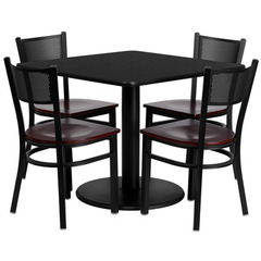 Buy Flash Furniture 36x36 Square Black Laminate Table Set w/ 4 Grid Back Metal Chairs - Mahogany Wood Seat on sale online