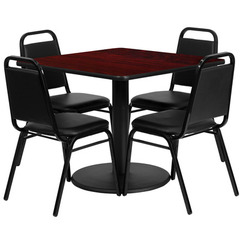 Buy Flash Furniture 36x36 Square Mahogany Laminate Table Set w/ 4 Black Trapezoidal Back Banquet Chairs on sale online